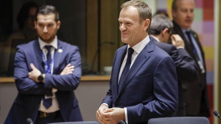 Le président du Conseil européen Donald Tusk, jeudi 9 mars 2017 à Bruxelles (Belgique). (THIERRY ROGE / BELGA MAG / AFP)
