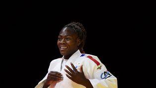 Clarisse Agbegnenou lors des championnats du monde, le 9 juin 2021. (ATTILA KISBENEDEK / AFP)