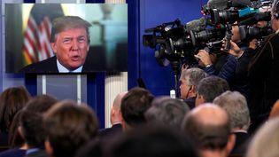 Donald Trump donne une conférence de presse à la Maison Blanche, le 4 janvier 2018. (CARLOS BARRIA / REUTERS)