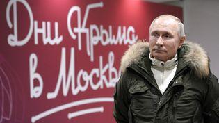 Le président russe Vladimir Poutine, le 18 mars 2021 à Moscou (Russie). (ALEXEI DRUZHININ / SPUTNIK / AFP)
