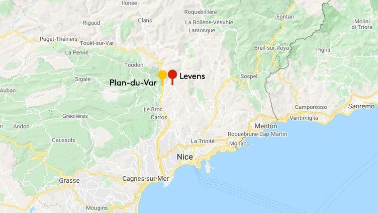 Le Paris-Nice 2021 se concluraà Levens (Alpes-Maritimes). (GOOGLE MAPS)
