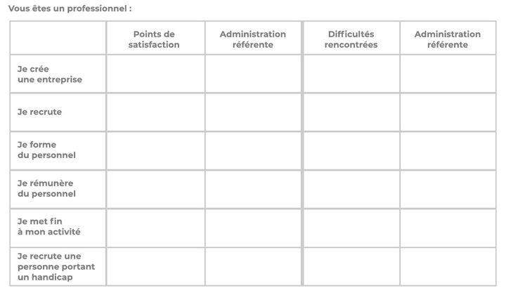 Tableau à remplir dans le cadre du questionnaire présenté aux participants du grand débat national. (capture d'écran) (DR)