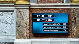 L'écran de l'hémicycle au sein de l'Assemblée Nationale affiche le nombre de votants pour le budget 2022 de la Sécurité sociale, le 26 octobre 2021. (XOSE BOUZAS / HANS LUCAS / AFP)