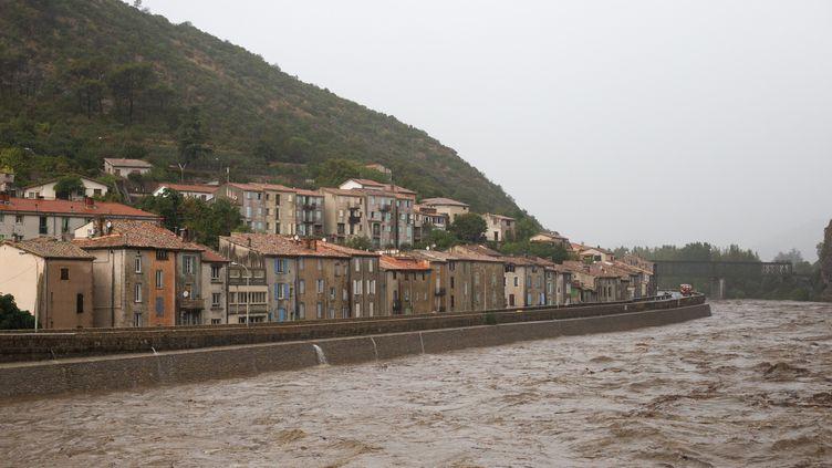 Inondation à Anduze, dans le nord ouest du Gard le 19 septembre 2020. (BENJAMIN POLGE / HANS LUCAS)