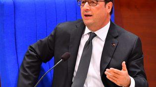 François Hollande prononceun discours au Conseil de l'Europe, à Strasbourg (Bas-Rhin), le 11 octobre 2016. (MUSTAFA YALCIN / ANADOLU AGENCY / AFP)