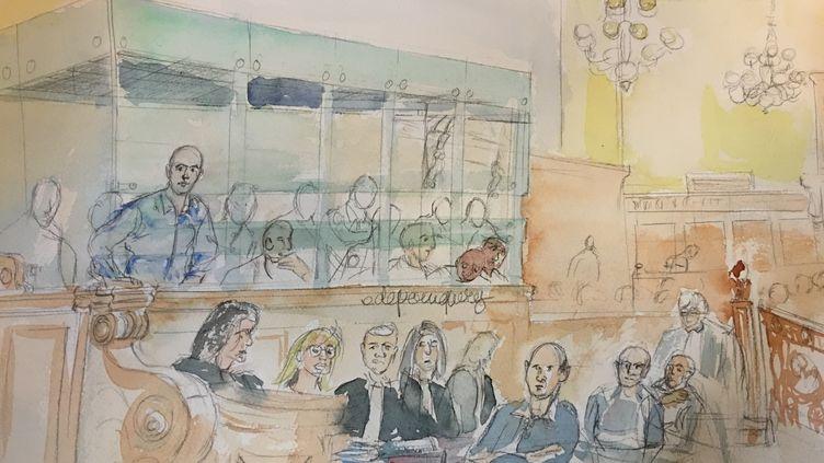 Redoine Faïd comparaît devant la cour d'assises de Paris, le 1er mars 2016. (ELISABETH DE POURQUERY / FRANCETV INFO)