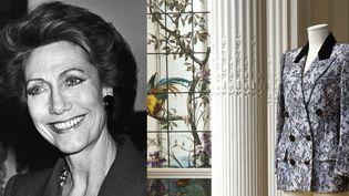 Portrait d'Hélène Rochas + veste Rochas en crêpe blanc recouvert de dentelle de Chantilly mécanique noire, col châle cranté dont une partie en velours noir, double boutonnage, poches sous rabats, manches longues.  (PIERRE GUILLAUD / AFP (Portrait) + Cornette de Saint Cyr)