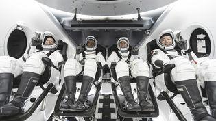 Les quatre astronautes envoyés dans la capsule SpaceX vers la Station spatiale internationale, dimanche 15 novembre 2020. (SPACEX / AFP)