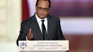 François Hollande répond aux questions des journalistes, à l'Elysée, le 7 septembre 2015. (ALAIN JOCARD / AFP)