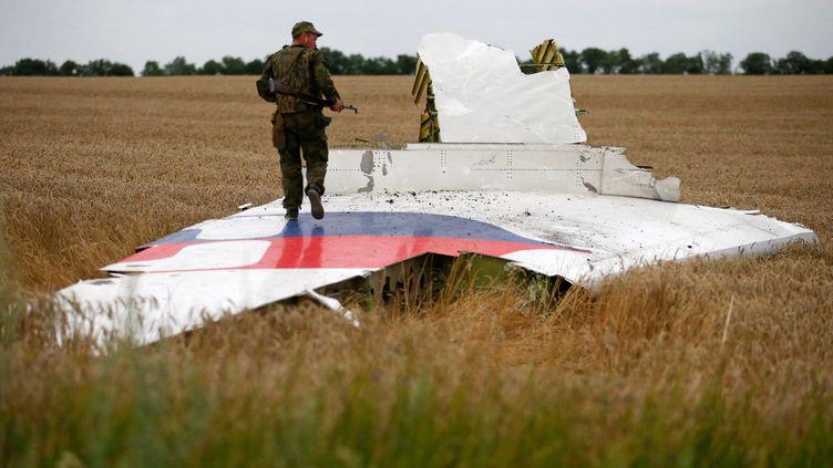 Un séparatiste prorusse observe les débris du vol MH17, le 17 juin 2014, dans la région de Donetsk. (MAXIM ZMEYEV / REUTERS)