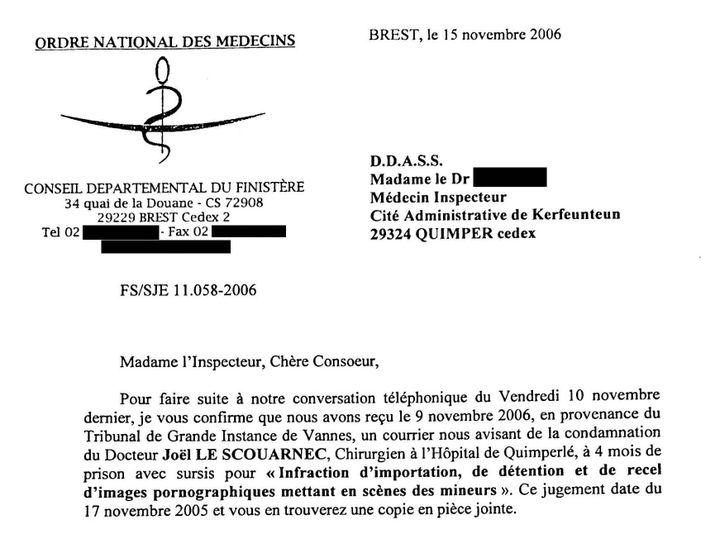Lette du directeur de l'Ordre national des médecins adressée à la DDASS du Finistère, en novembre 2006, à propos de Joël Le Scouarnec. (franceinfo / Cellule investigation de Radio France)