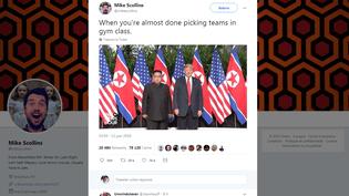 Capture d'écran d'un message de Mike Scollins publié sur Twitter mardi 12 juin 2018 après le sommet entre Kim Jong-un et Donald Trump. (MIKESCKOLLINS / TWITTER)