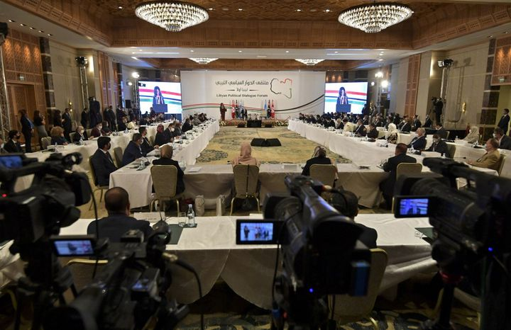The room for negotiations on peace in Libya, November 9, 2020 in Gammarth, in the suburb of Tunis.  (FETHI BELAID / AFP)