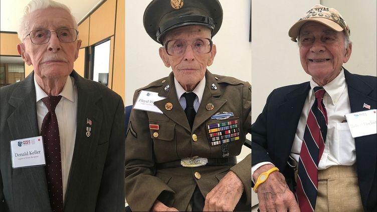 Trois vétérans américains du 6 juin 1944, Donald Keller,Floyd Wigfield etRobert Fischman, le7 mai 2019. (GREGORY PHILIPPS / RADIO FRANCE)