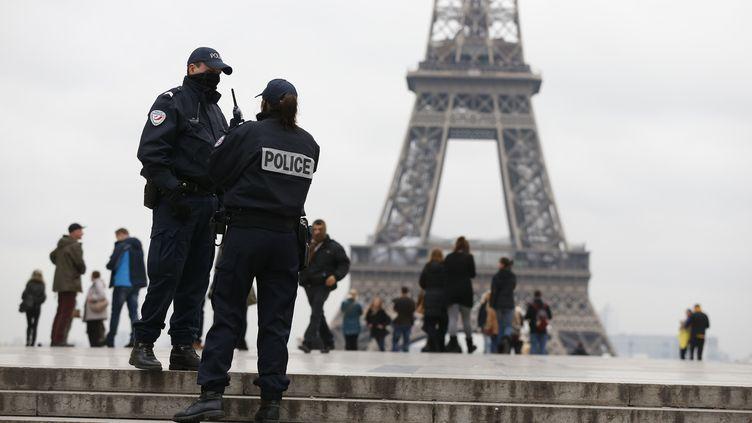 Des policiers déployés au Trocadéro, à Paris, dans le cadre de la traque d'un tireur, le 18 novembre 2013. (THOMAS SAMSON / AFP)