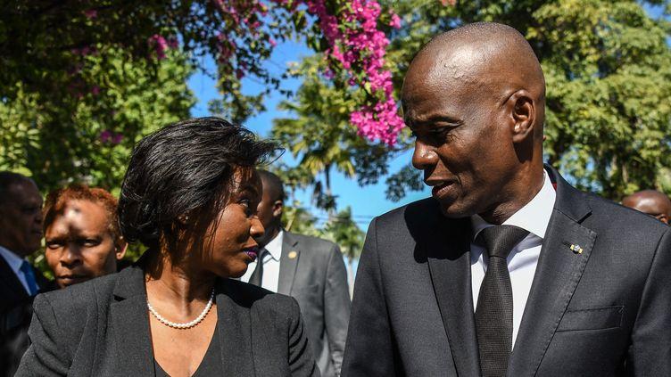 Le président haïtien Jovenel Moïse et son épouse Martine Moïse le 12 janvier 2021. (CHANDAN KHANNA / AFP)