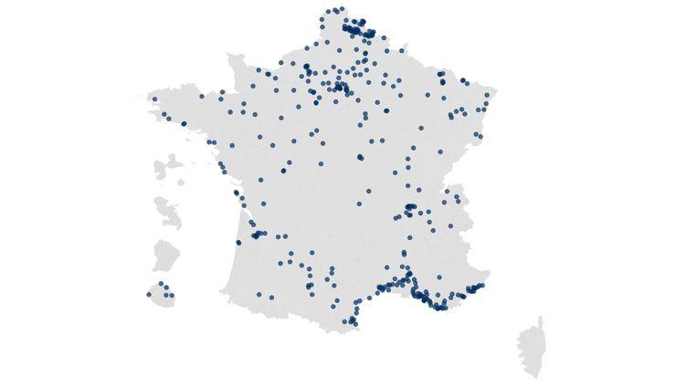 La carte des candidats RN aux élections municipales 2020. (ROBIN PRUDENT / FLOURISH)