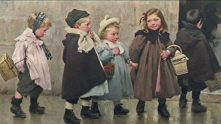 L'arrivée à l'école(1909) -Huile sur toile (Henri Jules-Jean Geoffroy 1853-1924)
