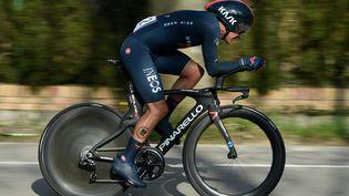 Richard Carapaz (Ineos-Grenadiers) est l'actuel leader du classement général du Tour de Suisse. (JOSEP LAGO / AFP)