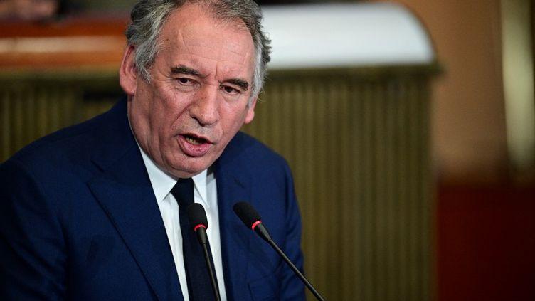 François Bayrou, haut commissaire au Plan, lors d'une discours au Conseil économique, social et environnemental, à Paris, le 22 septembre 2020. (MARTIN BUREAU / AFP)