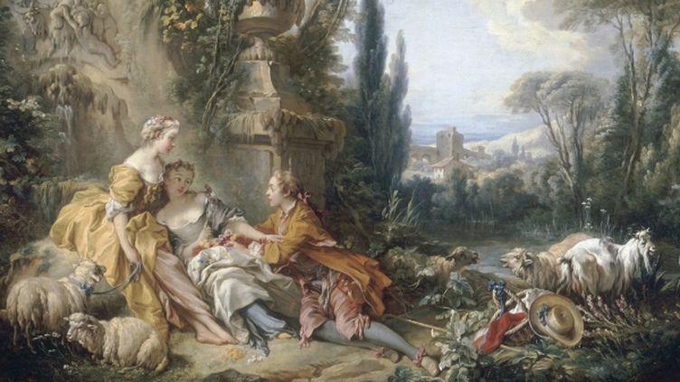 François Boucher (1703-1770) - Les Charmes de la vie champêtre - Huile sur toile, 100 x 146 cm-Musée du Louvre, Département des Peintures, Paris  (RMN-Grand Palais (musée du Louvre) / Jean-Gilles Berizz)