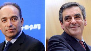 Le président de l'UMP, Jean-François Copé (à g.), et l'ancien Premier ministre François Fillon. (THOMAS BREGARDIS / AFP)