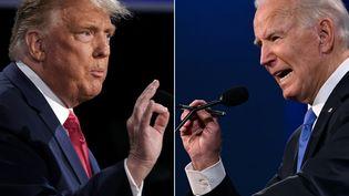 Donald Trump et Joe Biden lors du débat à Nashville aux Etats-Unis, le 22 octobre 2020. (BRENDAN SMIALOWSKI / AFP)