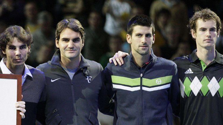 De gauche à droite: Rafael Nadal, Roger Federer, Novak Djokovic et Andy Murray