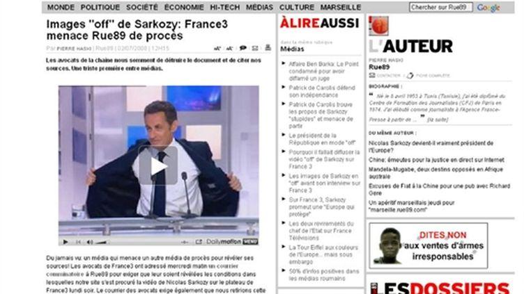 """Rue 89 avait diffusé la vidéo """"off"""" de Nicolas Sarkozy sur France 3"""