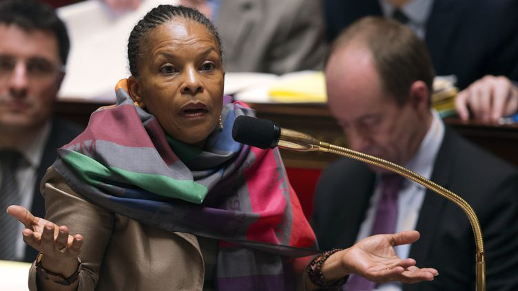 La ministre de la Justice Christiane Taubira, le 4 février 2013 à l'Assemblée nationale. (JOEL SAGET / AFP)
