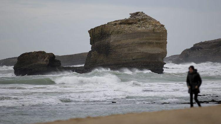 Des forts coefficients de marées à Biarritz (Pyrénées-Atlantiques), le 6 janvier 2014. (  MAXPPP)
