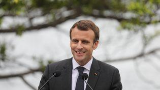 Le président français Emmanuel Macron lors de sa visite officielle en Australie, à Sydney, le 2 mai. (LUDOVIC MARIN / AFP)