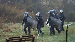 Les forces de l'ordre procèdent à l'évacuation de la ZAD de Notre-Dame-des-Landes (Loire-Atlantique), le 9 avril 2018. (MAXPPP)