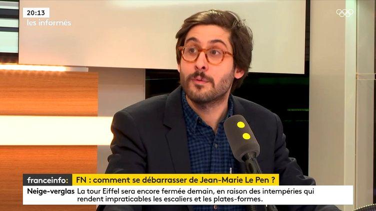 Étienne Girard, journaliste politique à Marianne, sur le plateau de franceinfo, le 9 février 2018. (FRANCEINFO)