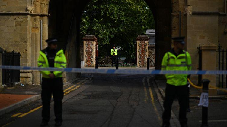 Des policiers montent la garde le 21 juin 2020 près du parc Forbury Gardens, à Reading (Royaume-Uni), au lendemain d'une attaque au couteau qui a fait trois morts. (BEN STANSALL / AFP)