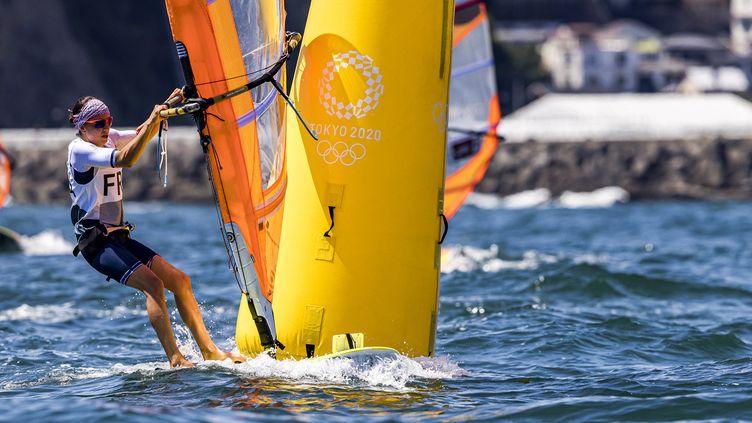 Charline Picon, lors des Jeux olympiques de Tokyo. (AFP)