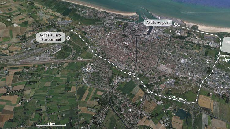 Trajet des migrants de Calais (Pas-de-Calais), de leur campement aux différents accès vers l'Angleterre. (FRANCETV INFO)