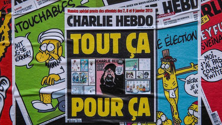 La couverture de Charlie Hebdo le mecredi 2 septembre, avec la republication des caricatures du prophète Mahommet. (MOHAMMED BADRA / MAXPPP)