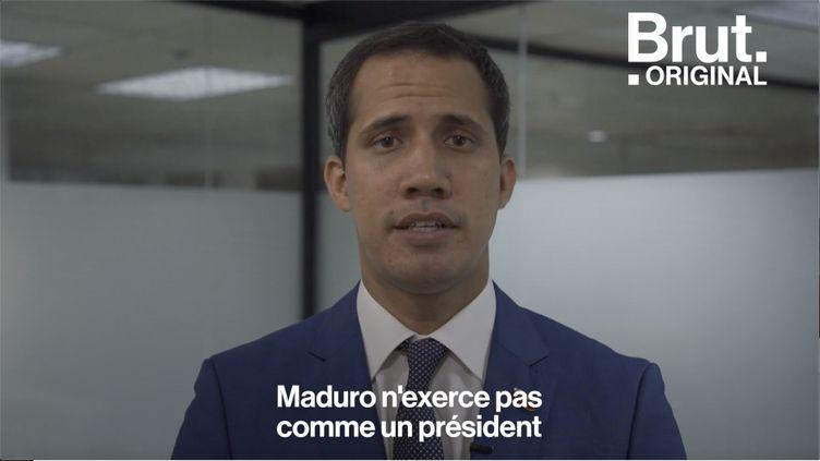 """Autoproclamé président par intérim au Venezuela, Juan Guaidó cherche à faire plier la """"dictature"""" de Nicolas Maduro pour mettre en place des élections libres. (BRUT)"""