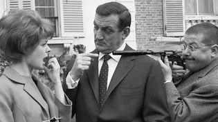 """Image prise sur le tournage de """"Les tontons flingueurs"""" avec Sabine Singen, Lino Ventura et Francis Blanche. - 1963  (DALMAS/SIPA)"""