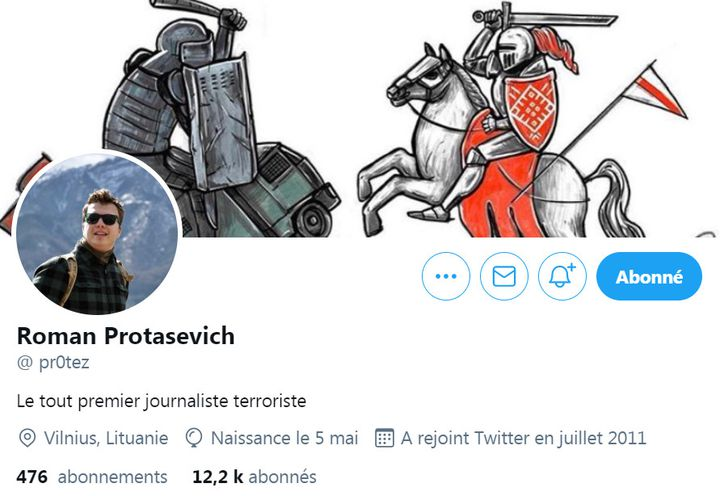 The home page of Roman Protassevich's Twitter account.  (Twitter @ pr0tez)