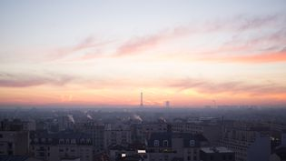 La tour Eiffel sous la pollution à Paris, le 7 décembre 2016. (EDOUARD GAYET / SIPA)