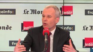 François de Rugy, président LREM de l'Assemblée nationale, le 29 octobre 2017 dans Questions politiques sur France Inter. (FRANCEINFO / RADIO FRANCE)