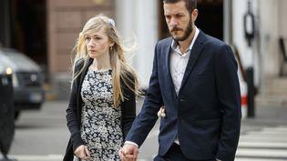 Chris Gard etConnie Yates, les parents du petit Charlie Gard, arrivent à la Haute cour de Londres, le 21 juillet 2017. (TOLGA AKMEN / AFP)