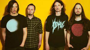 Le groupe de metal français Gojira. De gauche à droite : Mario Duplantier (batterie), Jean-Michel Labadie (basse), Joe Duplantier (chant et guitare rythmique) et Christian Andreu (guitare solo). (GABRIELLE DUPLANTIER)