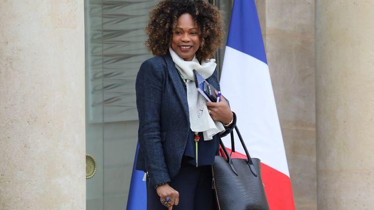 L'ancienne ministre des Sports, Laura Flessel, sur le perron de l'Elysée (LUDOVIC MARIN / AFP)