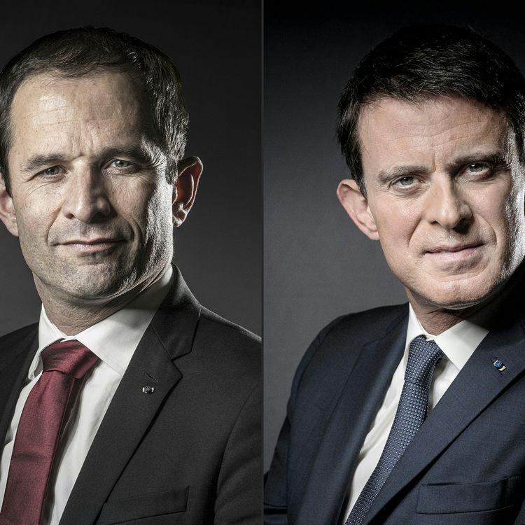 Benoît Hamon et Manuel Valls s'affrontent, dimanche 29 janvier, au second tour de la primaire de la gauche. (JOEL SAGET / AFP)