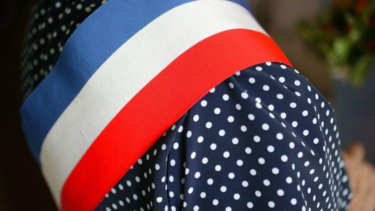 Une maire de l'Allier porte l'écharpe tricolore lors d'une cérémonie de mariage, en juillet 2008. (AFP)