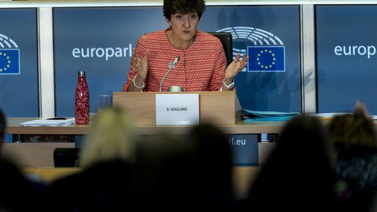 Sylvie Goulard,candidate française à la Commission européenne, lors de son audition le 2 octobre 2019 à Bruxelles. (KENZO TRIBOUILLARD / AFP)