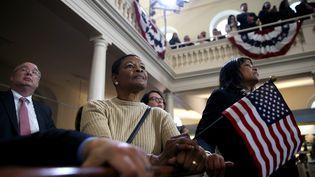 Des soutiens d'Hillary Clinton suivent un discours de l'ancienne secrétaire d'Etat, candidate aux primaires démocrates, à Boston (Etats-Unis), le 29 février 2016. (JUSTIN SULLIVAN / GETTY IMAGES NORTH AMERICA / AFP)